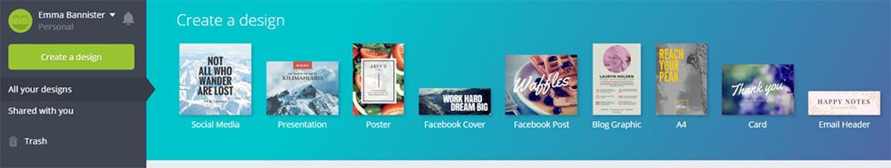 Canva create a design screenshot