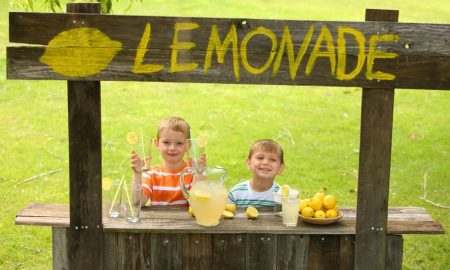 Using stock images - kids selling lemonade