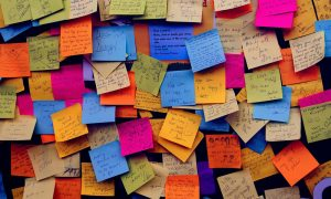 Post it notes being used in a presentation