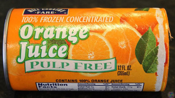 concentrated orange juice can