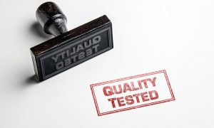 Rubber stamp to guarantee quality