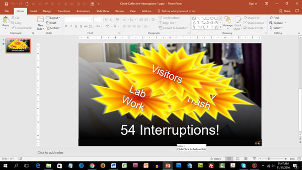 PowerPoint slide in edit mode with overlaid images