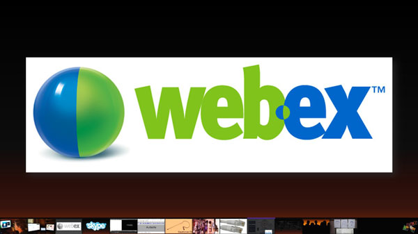 Webex banner on powerpoint slide