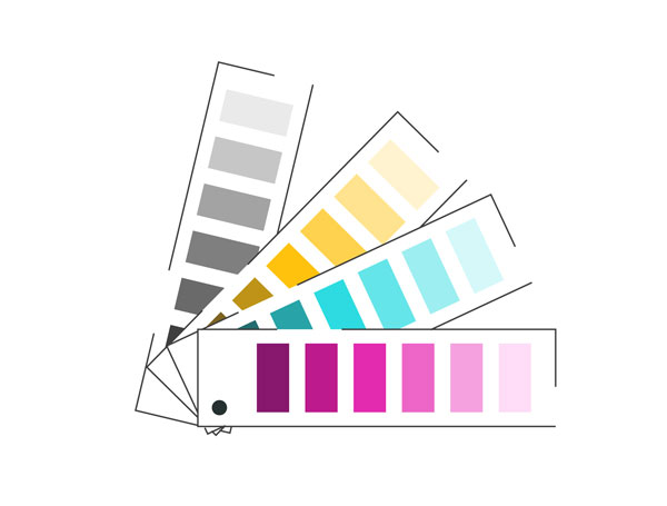 use colour cues and swatches on your slides