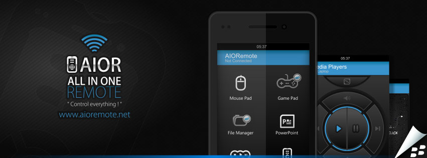 Control your computer or powerpoint slides from android with aio.