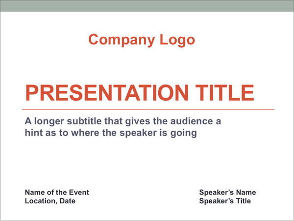 example of title slide in presentation