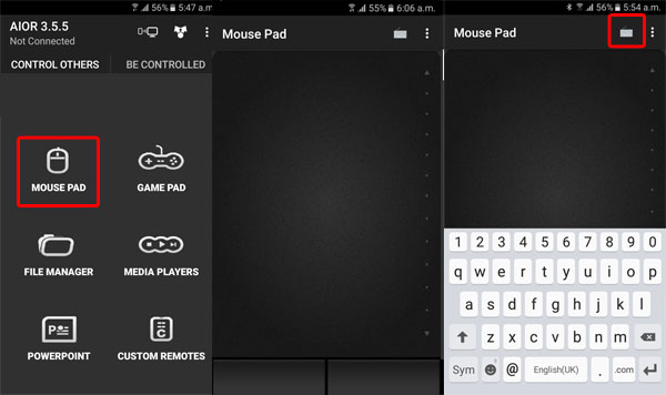 Turn android mouse into keypad screenshot