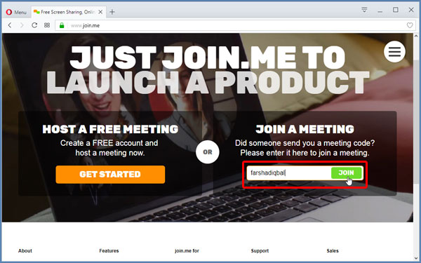 Enter meeting code screen for join me remote meeting app
