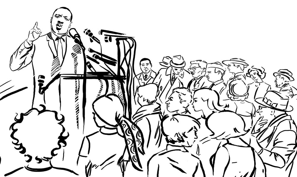 Martin Luther King speaking - line drawing
