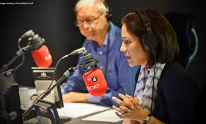 radio 4 Today presenters John Humphreys and Mishal Husain broadcasting
