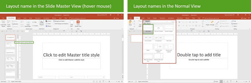 powerpoint screenshot showing layout options in slide master view