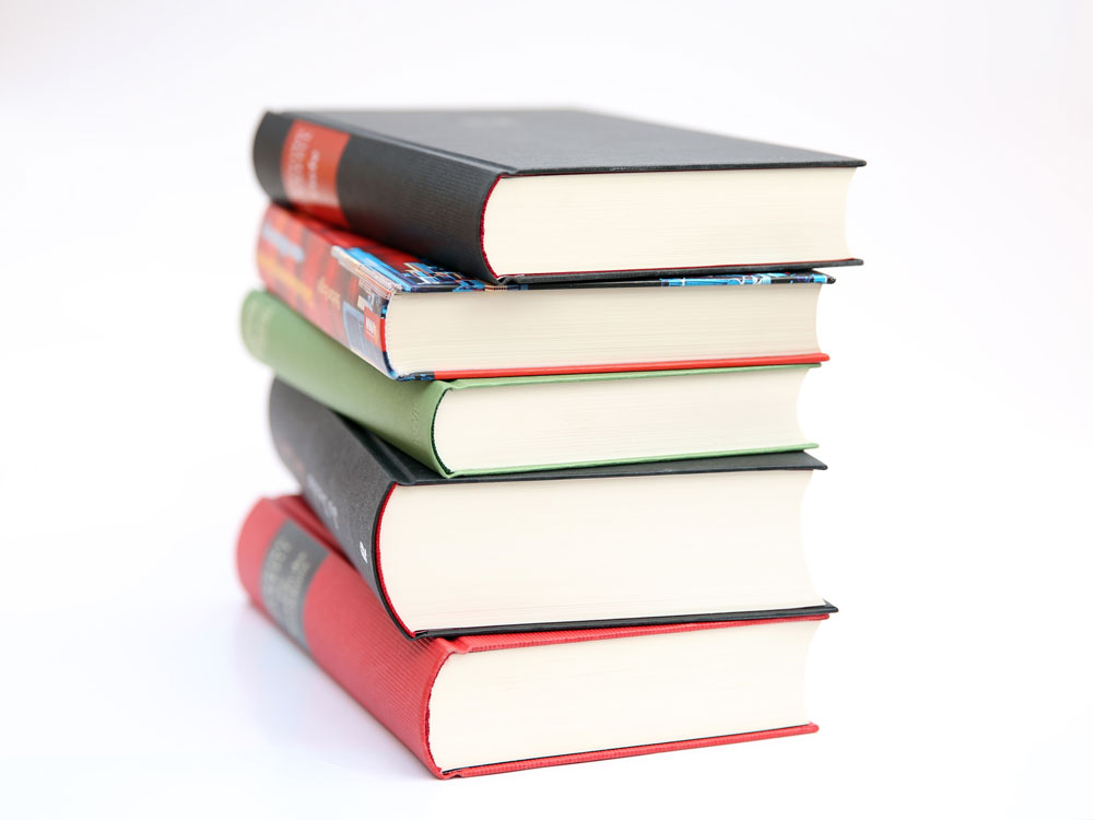stack of 5 books