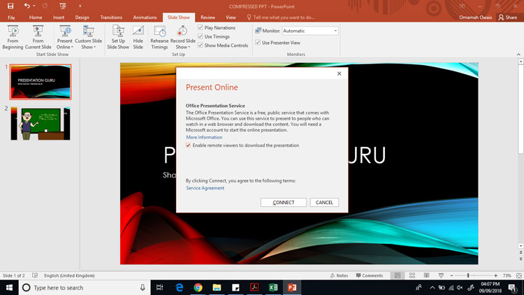 Connecting your powerpoint to the ms office presentation service