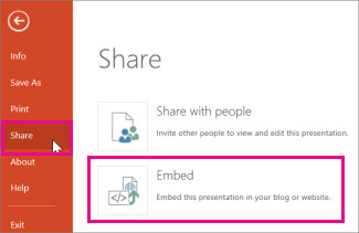 create embed code to share powerpoint presentation on website