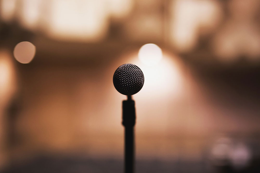 Microphone on stage in the spotlight