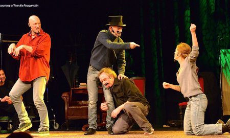 Improv comedians performing on stage