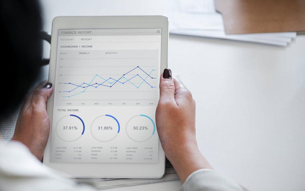 data loaded presentation on ipad tablet screen