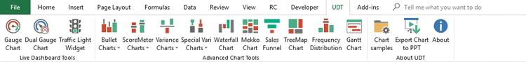 Ultimate Dashboard Tool for Excel toolbar screenshot