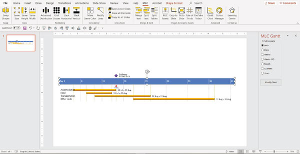 MLC powerpoint addin gantt chart function screenshot