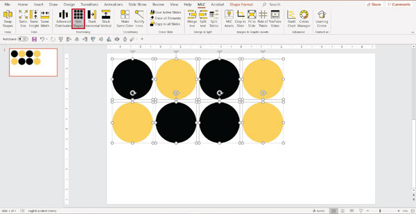MLC powerpoint addin grid shapes function screenshot