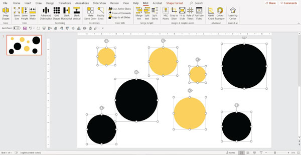 MLC powerpoint add in make same size function screenshot