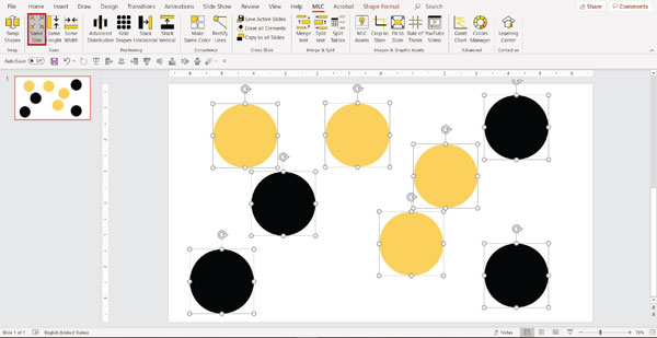 mlc powerpoint addin make same size function screenshot