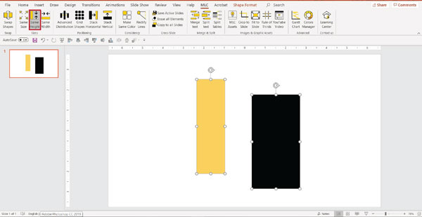 MLC powerpoint addin make same height function screenshot