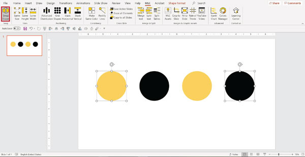 MLC powerpoint addin swap shapes function screenshot