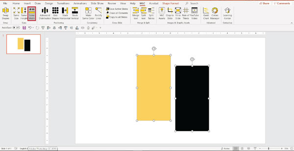 MLC powerpoint addin make same width function screenshot