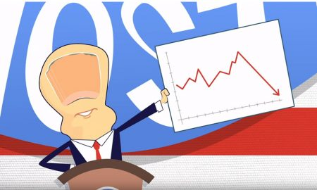 Cartoon president standing at podium holding graph