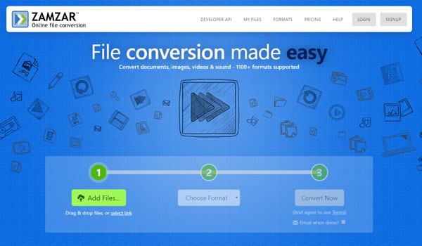 Screenshot of online file converter Zamzar