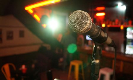 microphone set up in bar for comedy act