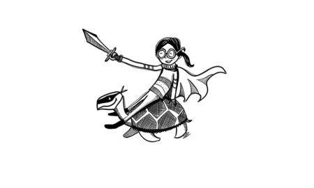 superhero girl with dagger sits on tortoise's back