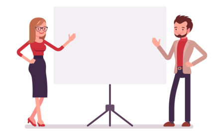 Cartoon male and female presenters either side of a presentation screen