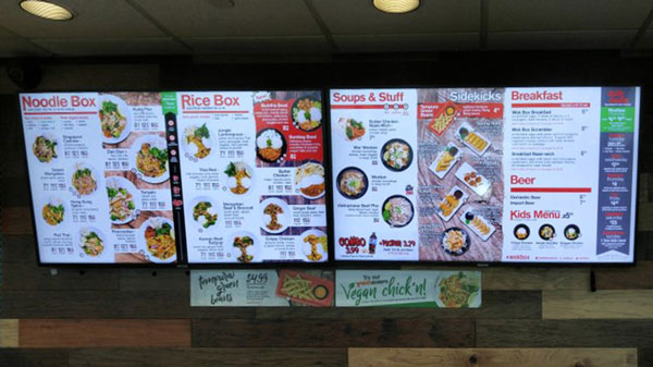 signagetube screens in a fast food outlet