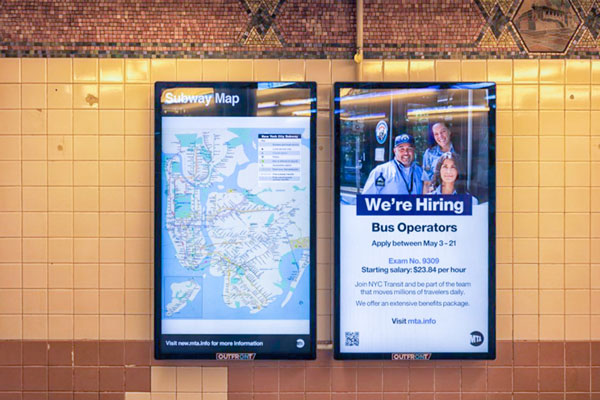 signagetube screens advertising job vacancies on the subway