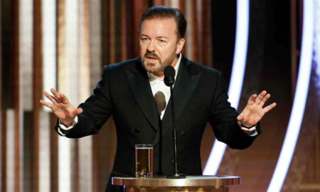 Ricky Gervais speaking at the Golden Globes 2020