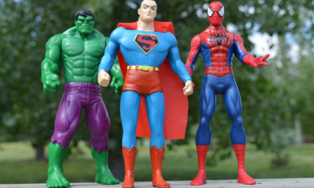Incredible hulk superman and spiderman superhero figures