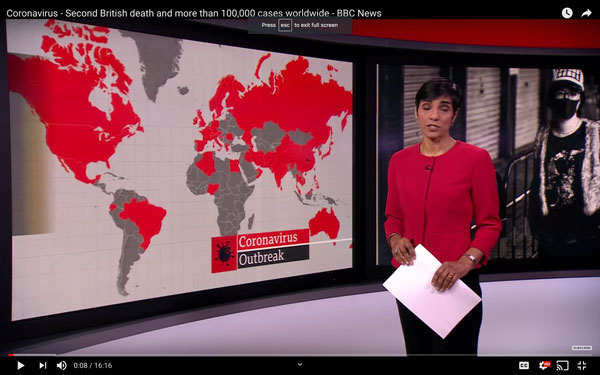 BBC report on Coronavirus showing map of world