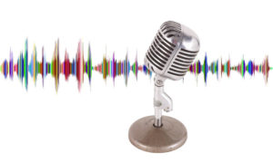 presentation guru storytelling podcast webinar microphone with coloured soundwaves