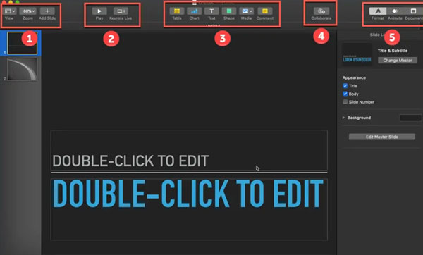 customize your toolbar in Keynote