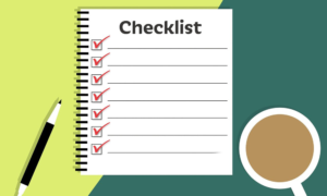 illustration of checklist on paper beside cup of tea